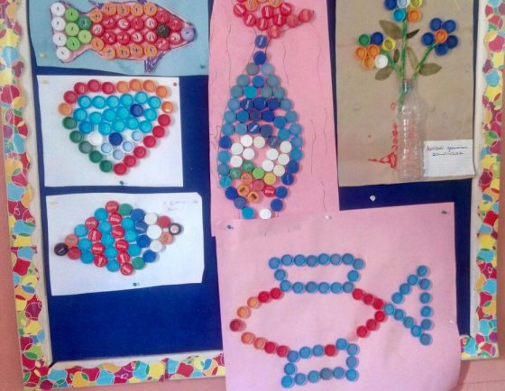 Designs with Plastic Bottle Cork By Grade 2 Pupils
